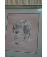 """Custom Drawing, Eleanor Baker of young man in awesome wood frame 26.5"""" x... - $34.65"""