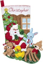 "Bucilla Felt Stocking Applique Kit 18"" Long-Toys From Santa - $22.30"