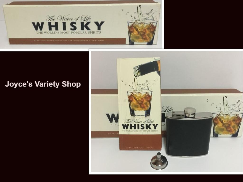 Whiskey flask set collage