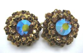 Vintage Eugene Topaz Faceted Crystal Cluster Clip On Earrings Signed - $59.34