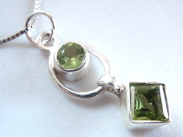 Very Small Faceted Peridot 925 Sterling Silver Necklace Round Square Cub... - $20.78