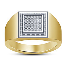 Yellow Gold Plated 925 Pure Silver Lab Created White Diamond Antique Men's Ring - $95.64