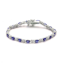 Sterling Silver Sapphire Blue And Clear Cubic Zirconia Tennis Bracelet - $159.99