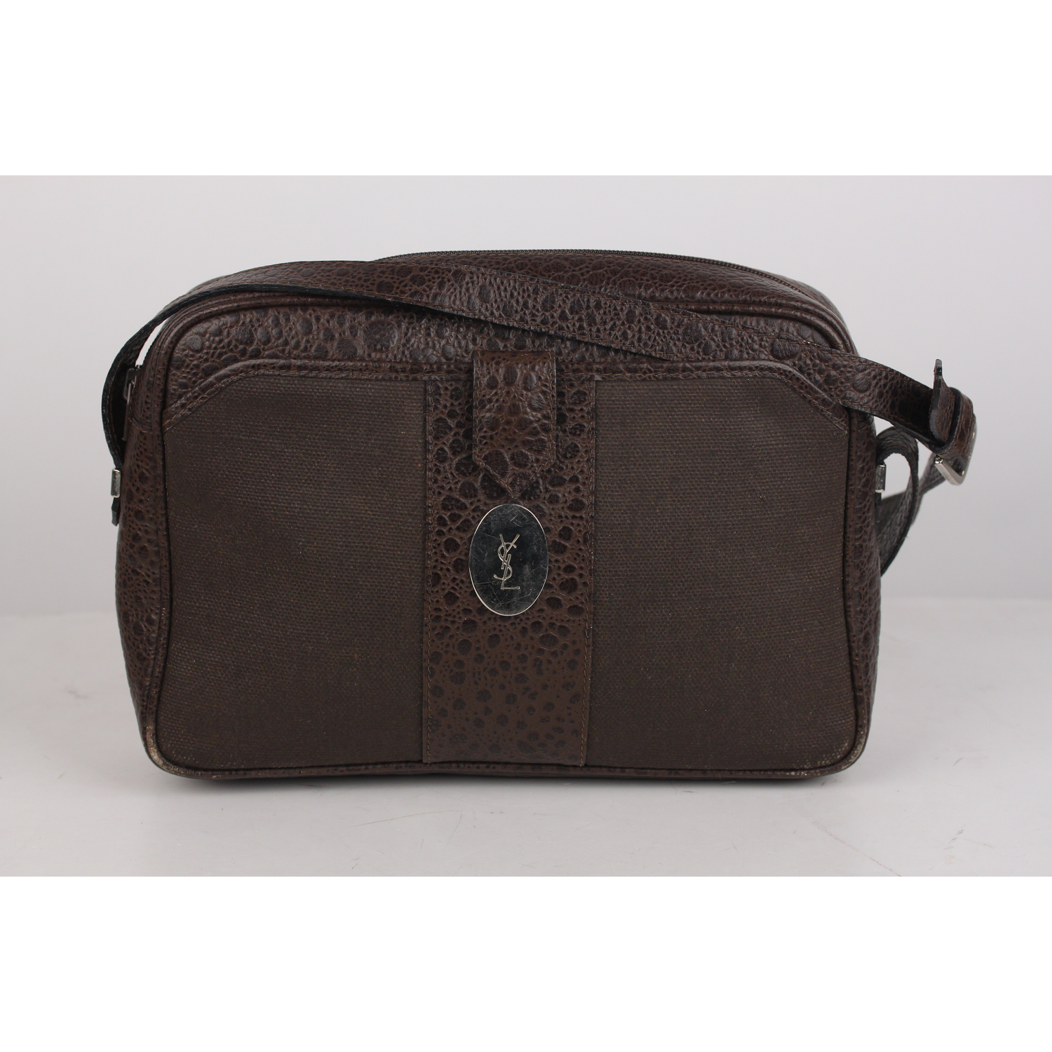 Authentic Yves Saint Laurent Vintage Brown Canvas and Leather Messenger Bag beac64a8a9410