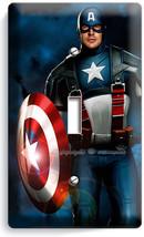 CAPTAIN AMERICA SUPERHERO STAR SHIELD SINGLE LIGHT SWITCH WALL PLATE COV... - $8.99