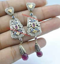 925 Sterling Silver Rose Cut Diamond Tourmaline,Ruby & Sapphire Dangle E... - $289.85