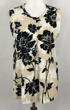 J. Crew Women Blouse Top Beige Black Floral Printed Pleated Front Crepe ... - $19.27