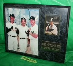 Yankee Greats Plaque Maris Berra Mantle Photo And Baseball Card - $138.59