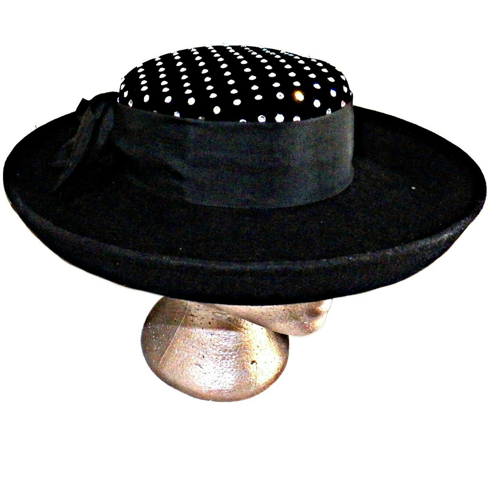 Primary image for Sonni SF Lancaster Hat Co USA Felt Black Wool Crystal Rhinestone Upturned Brim