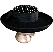 Sonni SF Lancaster Hat Co USA Felt Black Wool Crystal Rhinestone Upturne... - $129.99