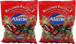 Arcor Juice Filled Strawberry Hard Kosher Candy 2 Packs, Each bag contains 470 G