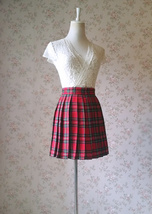 RED Pleated PLAID SKIRT Campus Style Red Plaid Pleat Skirt Red Check Mini Skirt image 6