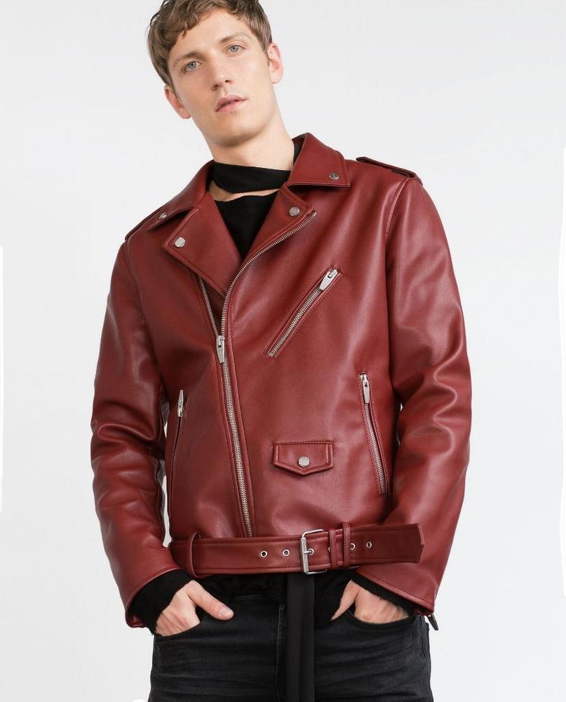 New Men's Genuine Lambskin Leather Jacket  Slim fit Biker Motorcycle jacket-G24