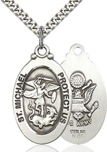 ARMY MEDAL - Silver Filled St. Michael the Archangel on a 24 inch Light Rhodium