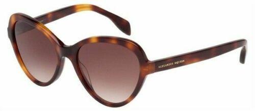 Nuevo Alexander Mcqueen Gafas de Sol Havana AM0029s 002 51MM Ojos Gato Mujer