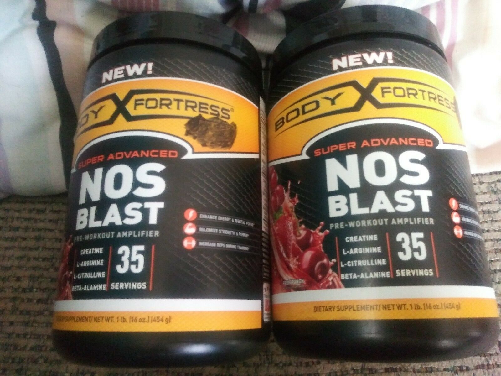 Primary image for 2x Body Fortress NOS Blast Pre-Workout Amplifier Fruit Punch 1 lb Best By 06/19