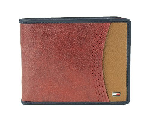 New Tommy Hilfiger Men's Leather Passcase & Valet Wallet (Red)