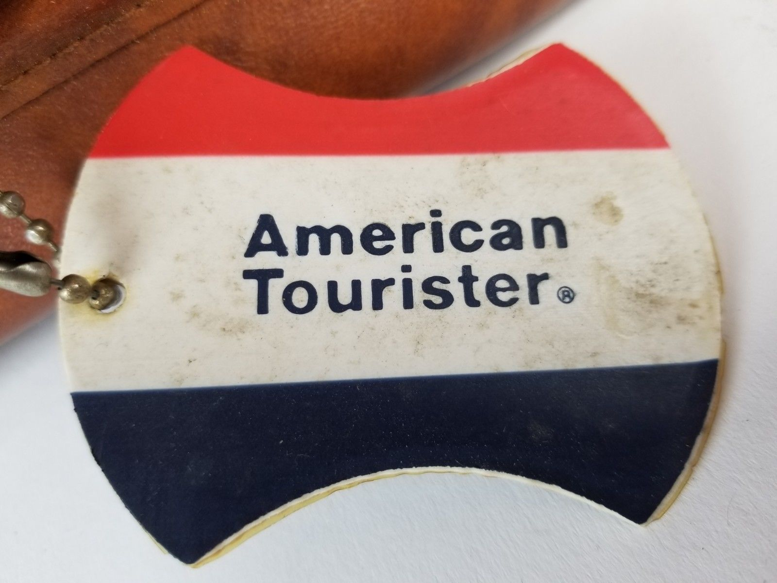Vintage American Tourist Brown Leather Suitcase Luggage -Free Shipping
