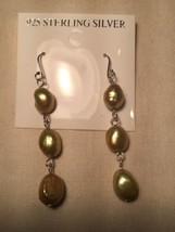 Vintage Handmade 925 Sterling Silver Genuine Golden Pearl Dangle Earrings - $27.72