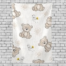 Wall Art Decor Bedroom Cute Drawn Teddy Bear Flowers Pattern Tapestry Wa... - $26.00