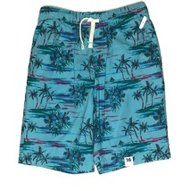 Arizona Jean Co Tropical Shorts Size 16 Blue Pull On Elastic Waist Palm ... - $19.79