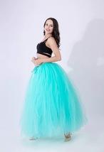Women RAINBOW Maxi Skirt Drawstring Waist Mint Gray Maxi Tulle Skirt Petticoats image 13