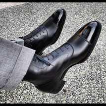 Men's Handmade Black Toe Cap Leather Boots, Best Lace up Boots For Men - $179.99 - $219.99