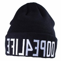 Dope Couture Black DOPE4LIFE For Life Cuff Fold Beanie Skate Winter Hat NWT