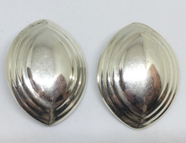 Weiss Sterling Silver Earrings Clip On Oval Dome Football Shape .925 Mex... - $47.02