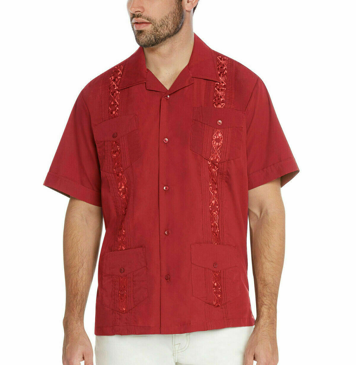 Men's Guayabera Cuban Beach Wedding Short Sleeve Red Dress Shirt w/ Defect - 2XL