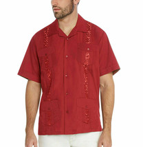 Men's Guayabera Cuban Beach Wedding Short Sleeve Red Dress Shirt w/ Defect - 2XL image 1