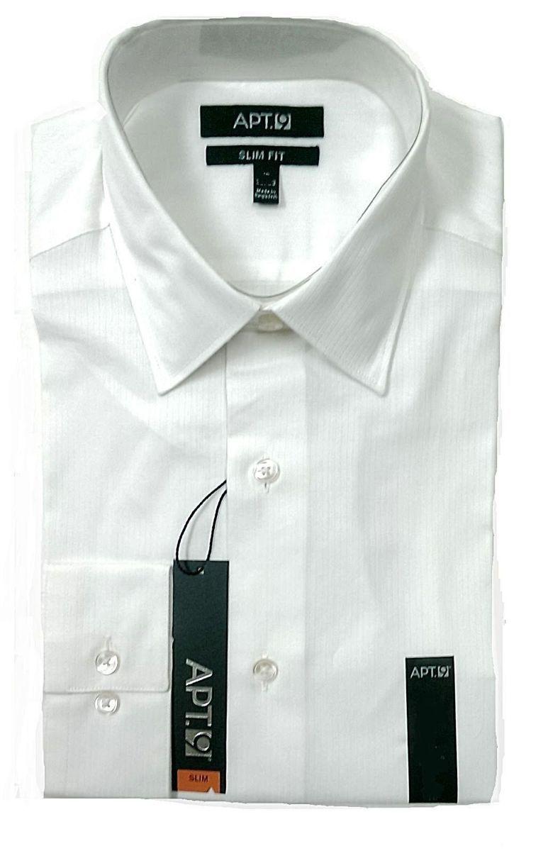 Apt 9 Mens Slim Fit Spread Collar Long Sleeve Textured Dress Shirt VARIOUS