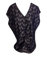 NEW NWT Millau LF Stores Baggy Black Floral Lace Silver Top Shirt $138 r... - $18.00