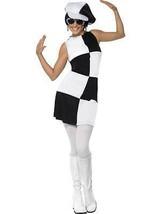 1960'S PARTY GIRL COSTUME, BLACK & WHITE, GROOVY FANCY DRESS, MEDIUM 12-... - $25.41