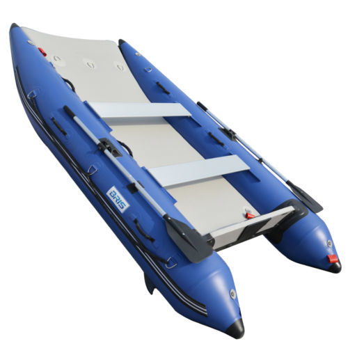 BRIS 11 ft Inflatable Catamaran Inflatable Boat Dinghy Mini Cat Boat Blue
