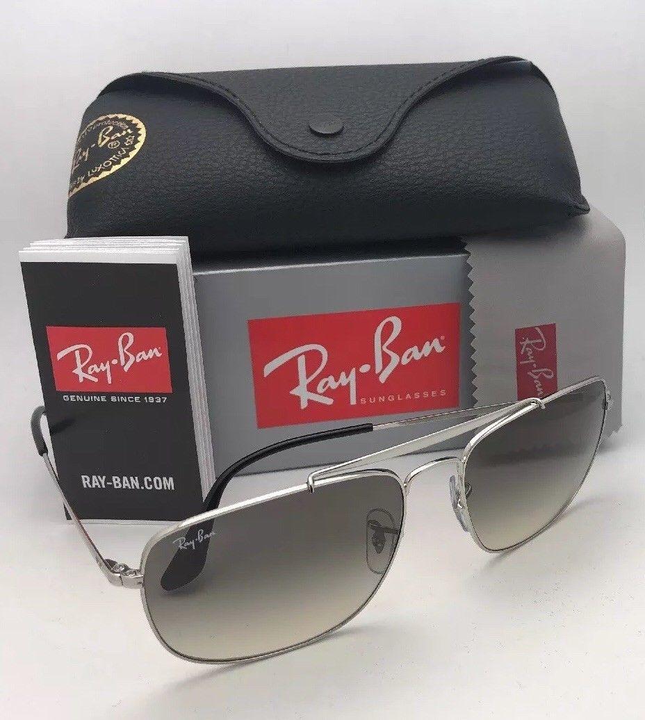 RAY-BAN Sunglasses THE COLONEL RB 3560 003/32 58-17 Silver Aviator w/ Grey Fade image 12