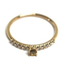 18K ROSE GOLD RING, SOLITAIRE WITH CENTRAL AND ROW YELLOW & WHITE CUBIC ZIRCONIA image 2