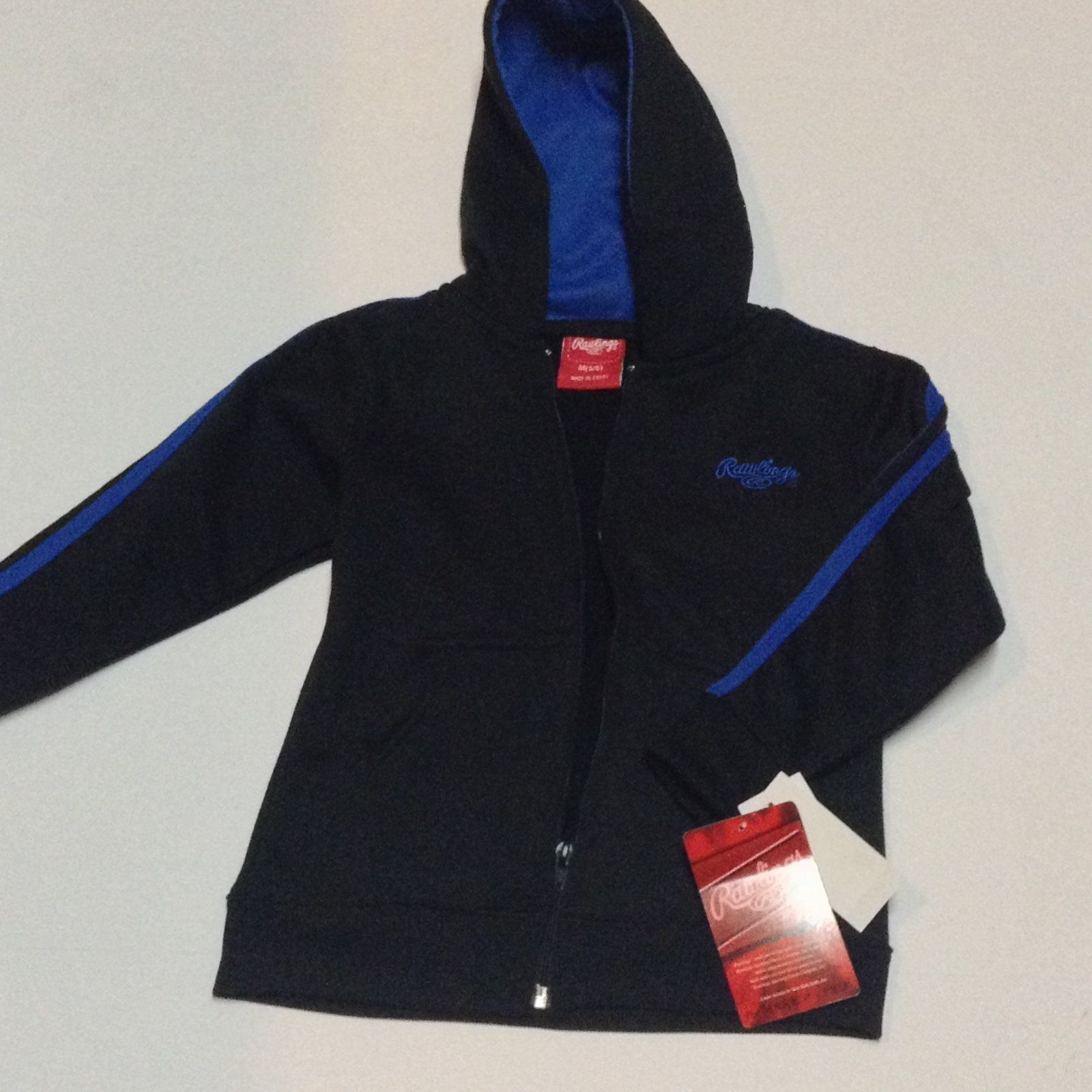 Primary image for Rawlings Hooded Jacket Youth Sz M 5/6 NWT Black Blue Logo
