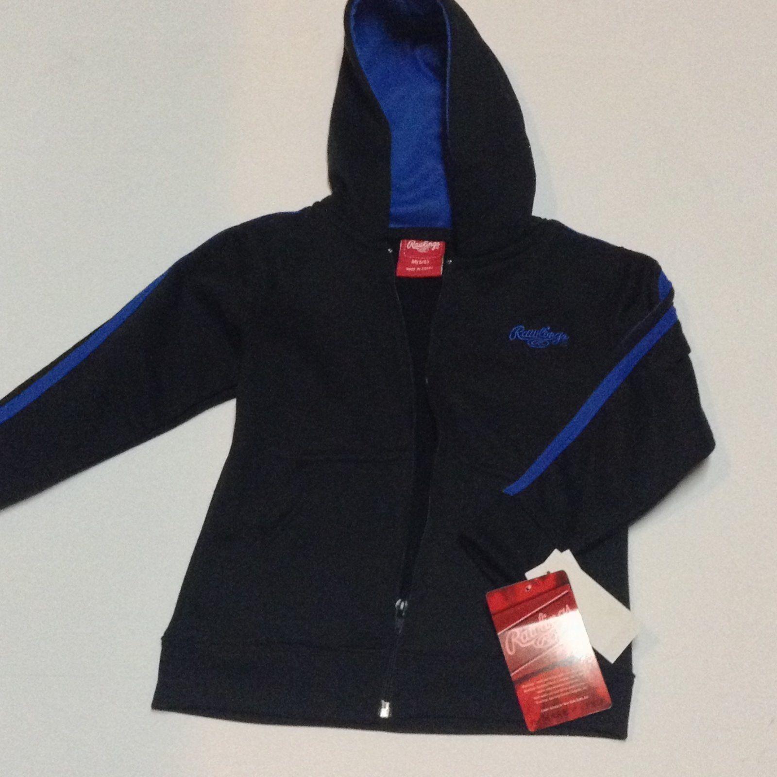 Rawlings Hooded Jacket Youth Sz M 5/6 NWT Black Blue Logo