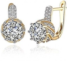 Anni Coco Champagne Gold Plated Cubic Zirconia Round Small CZ Hoop Earrings For - $21.37