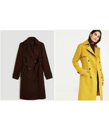 New Ann Taylor Brown Split Pea Green Long Sleeve Lined Belted Trench Coa... - $149.99