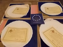 Fenton A Portrait Of Liberty Set Of 4 Glass White Plates New In Box - $19.79