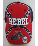 Embroidered Baseball Hat Rebel with Motorcycle Brand New - $11.00