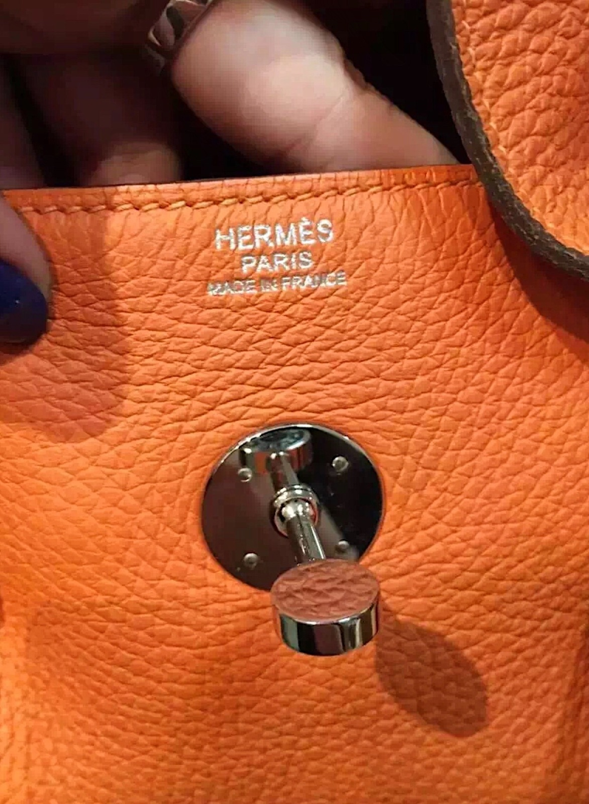 100% Authentic HERMES Taurillon Clemence Lindy 34 ORANGE Shoulder Bag PHW image 2