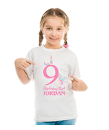 Unicorn Birthday Shirt, Personalized with Name and Age - $11.99