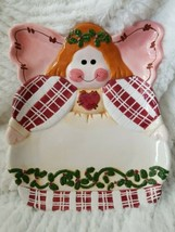 Country Angel Cookie Desert Plate Christmas Angel Shape Pink Red Green W... - $14.99
