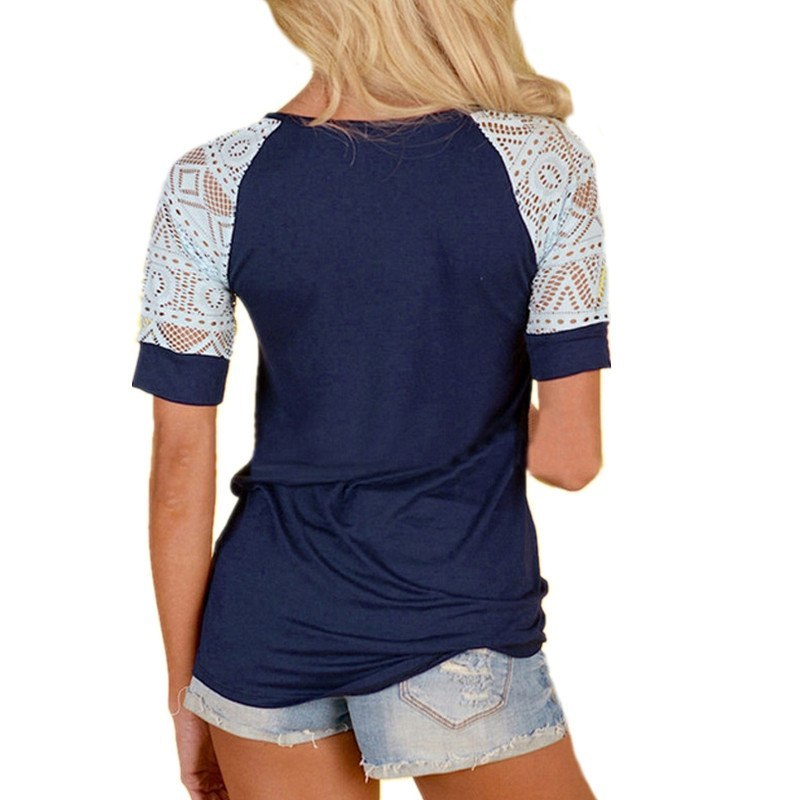 ZANZEA Women Summer Lace Blouse Blusas 2018 New Sexy O Neck Short Sleeve Crochet