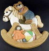 Frankie's Designs 1986 TEDDY BEAR on ROCKING HORSE Wall Plaque Vintage N... - $13.85