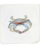 Embroidered Cushion Pillow Cover Marine Art Throw Pillow Blue Crab - $19.95