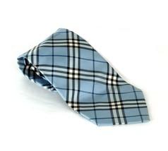 Authentic BURBERRY LONDON 100% Aqua Silk Necktie Made in Japan  - $88.11